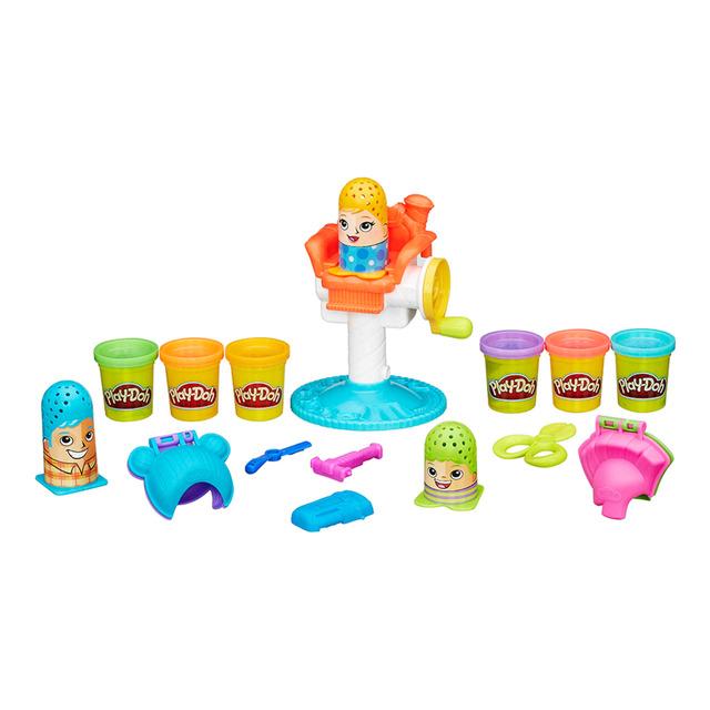 play-doh peinados locos peluquería de colores con botes de plastilina